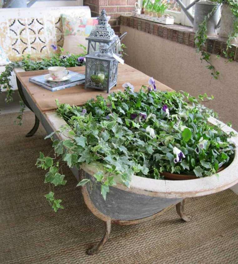 mesa terraza bañera vinatge plantas
