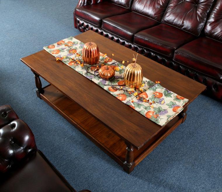mesas de centro decoracion otono calabazas plantas