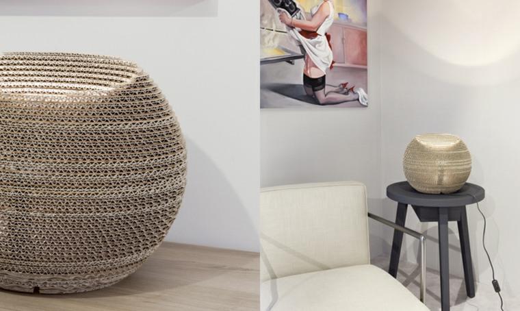 mobiliario diseno ecologico carton lampara forma bola ideas