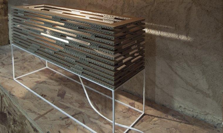 mobiliario diseno ecologico carton lampara forma rectanfular ideas