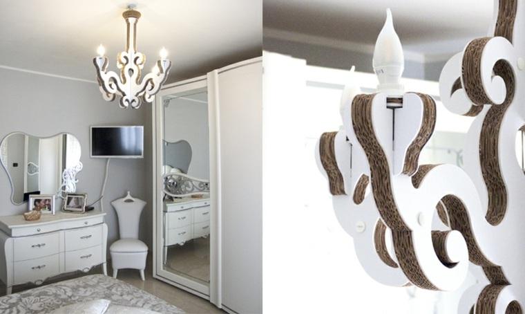 diseno ecologico carton lampara techo dormitorio moderno ideas