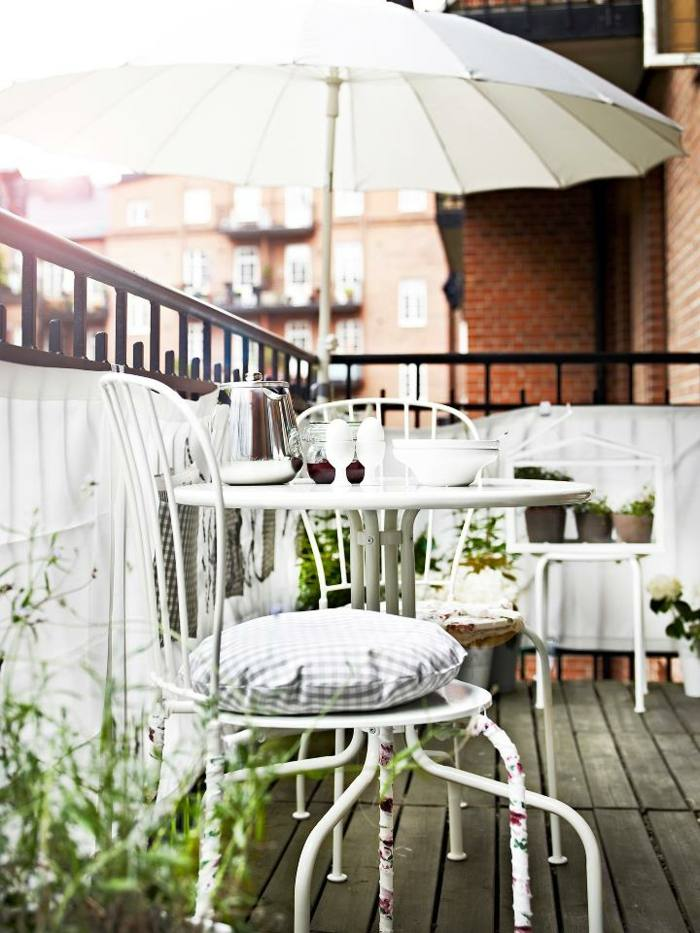 muebles balcon pequeno moderno acero blanco aire libre ideas