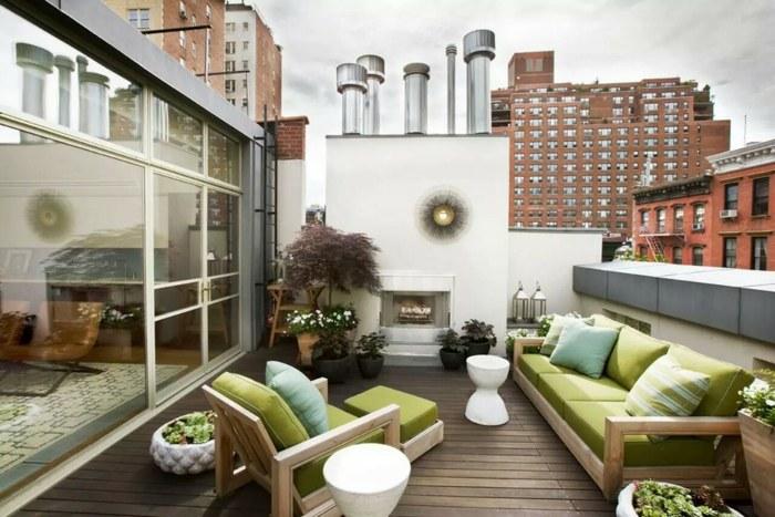 muebles balcon pequeno moderno chimenea atico amplio ideas