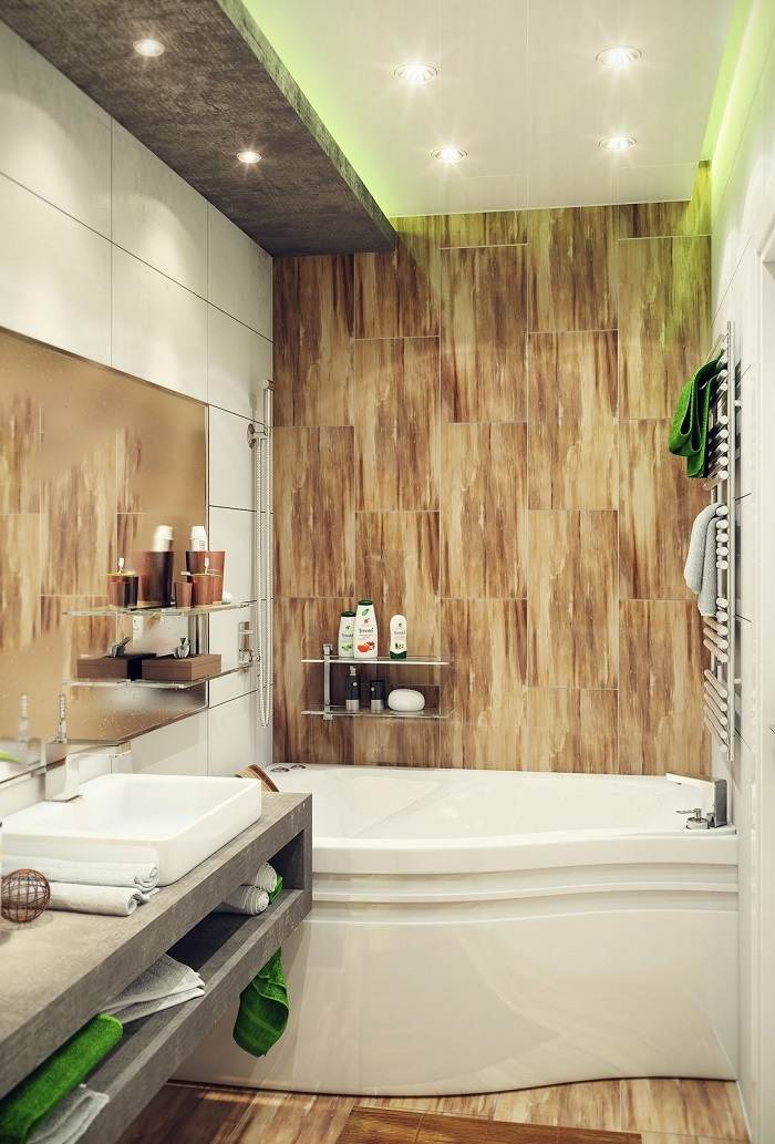 muebles banos pequenos opciones ahorrar espacio losas imitan madera ideas