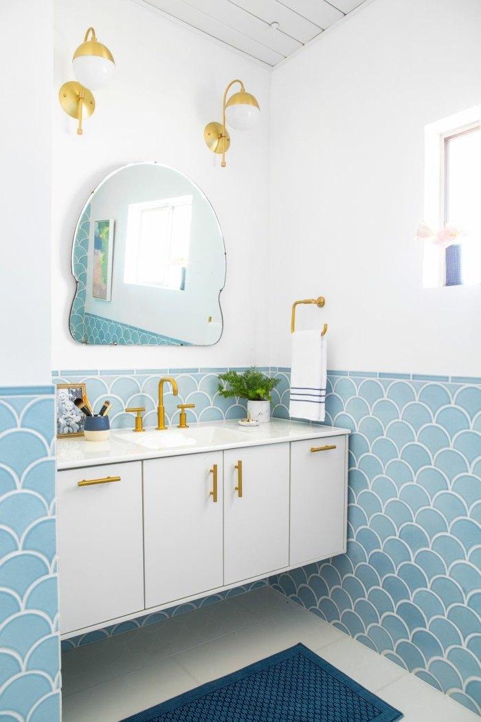 Baños Diseno Clasico:muebles-banos pequenos opciones ahorrar espacio pared medio azul ideas