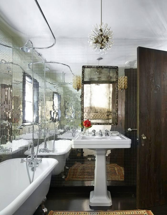 muebles banos pequenos opciones ahorrar espacio pared mosaico espejo ideas