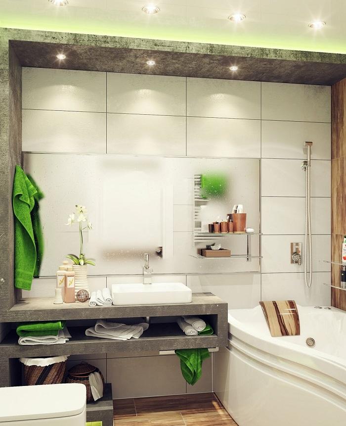 muebles banos pequenos opciones ahorrar espacio verde blanco verde ideas