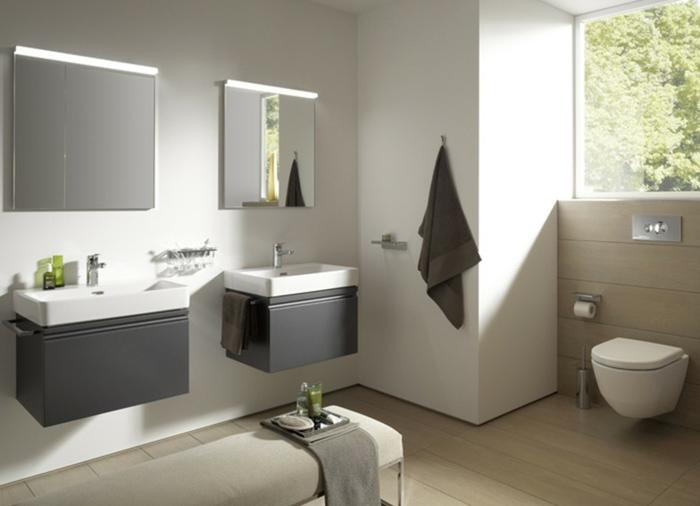muebles de baño tendencias espejos lineas suspendidos