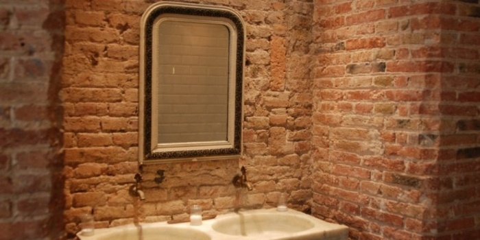 muebles de baño tendencias retro vintage ladrillos