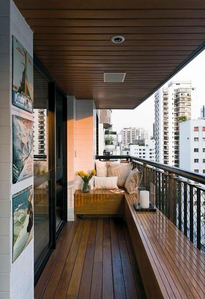 muebles de balcon pequeno moderno bancos madera lacada ideas