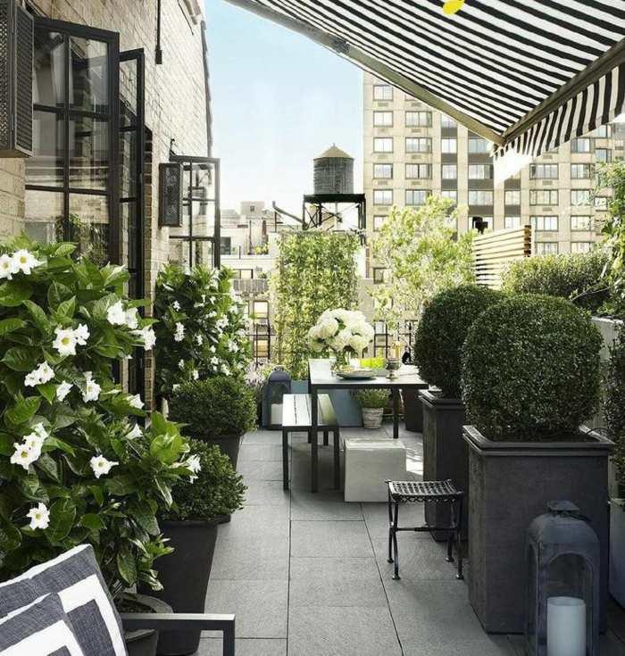 muebles balcon pequeno moderno mesa bancos comedor ideas