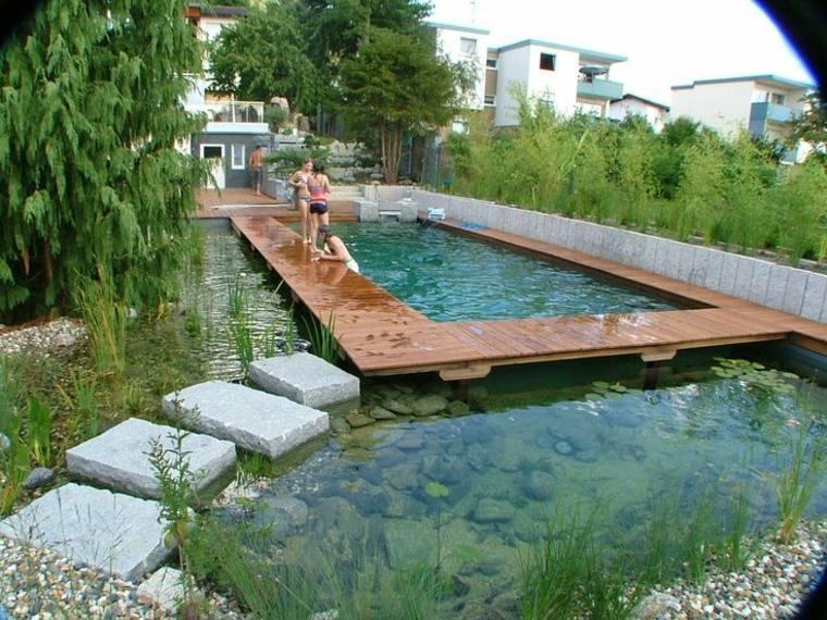 original piscina camino madera