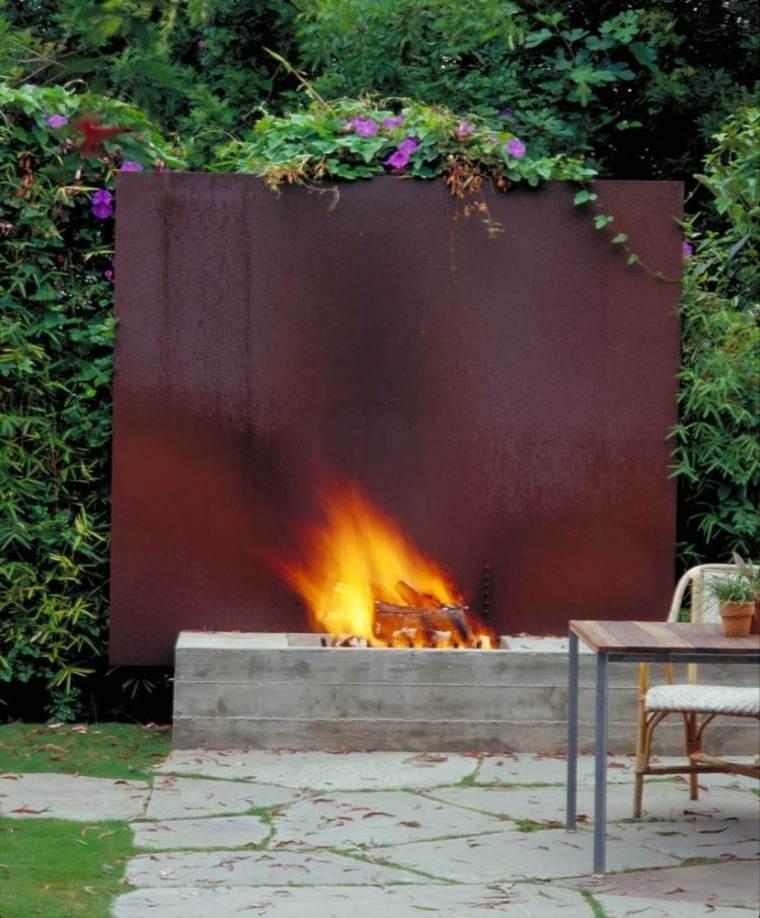 original chimenea moderna jardin corten