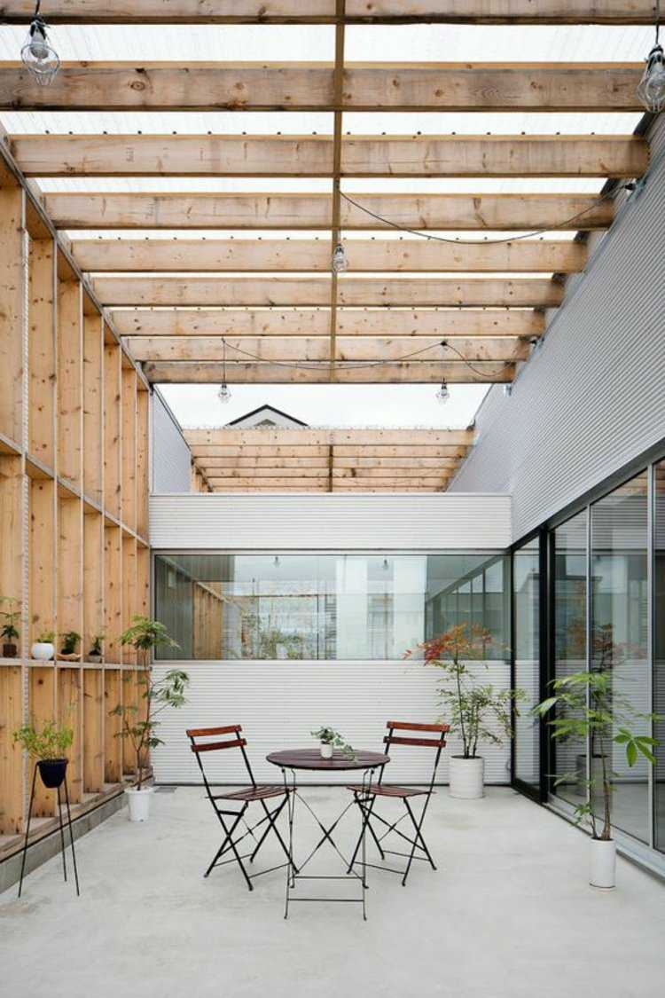 original diseño terraza techo madera