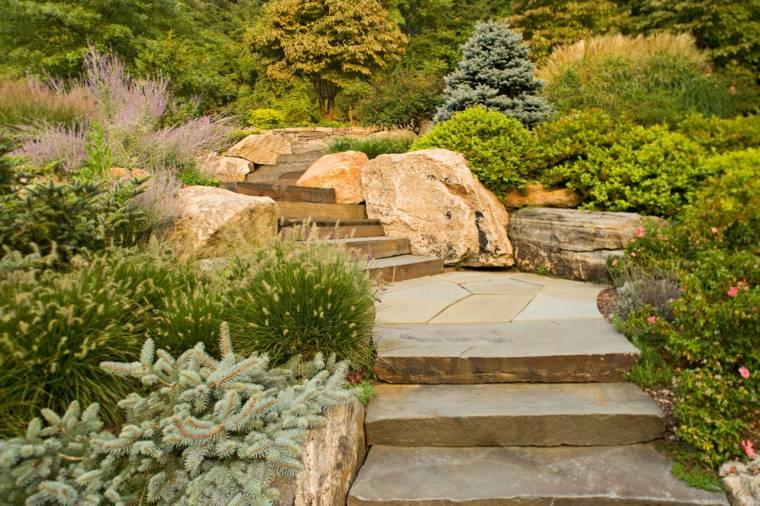 diseos de jardines aterrazados con escaleras exteriores