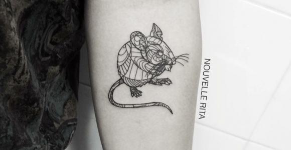 Tatuaje - formas de animales con contornos en negrita