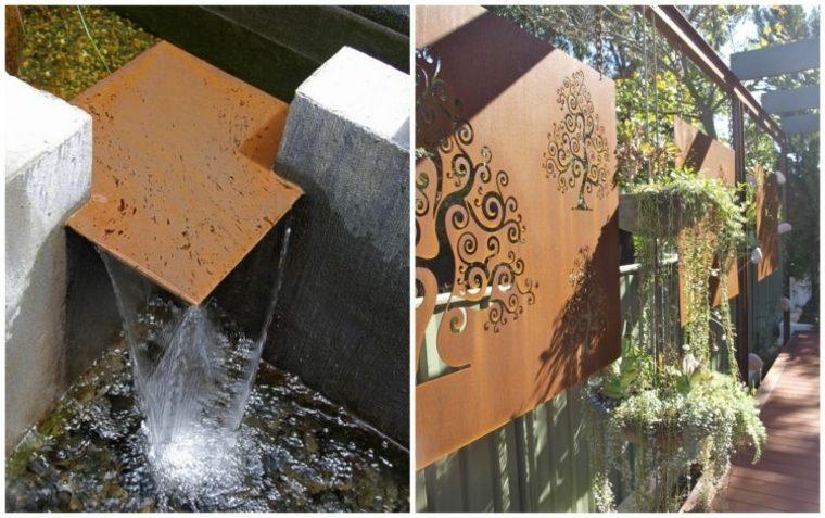 originales adornos jardin corten marron