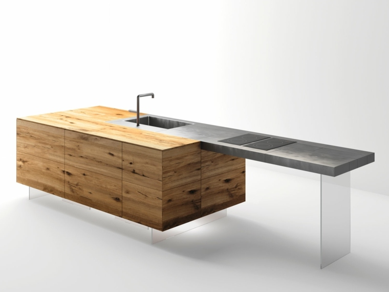 original encimera acero madera