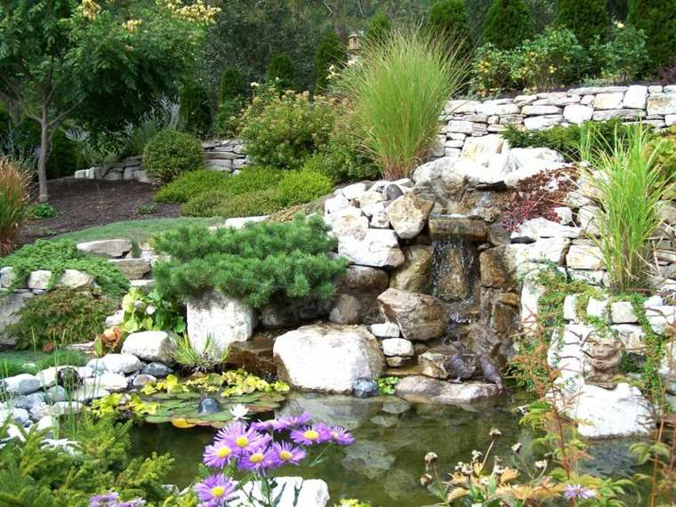 paisaje jardin estanque agua original