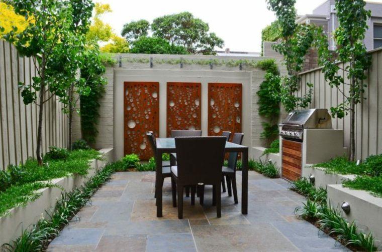 paneles decorativos jardin muros corten