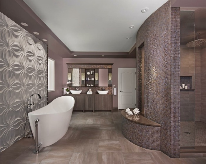 pared acento sillones abierto estantes bañera