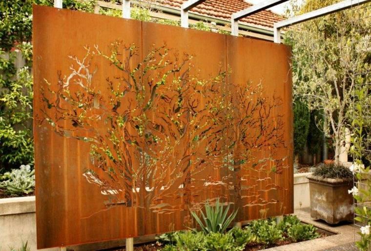pared separadora espacios exteriores jardin ideas