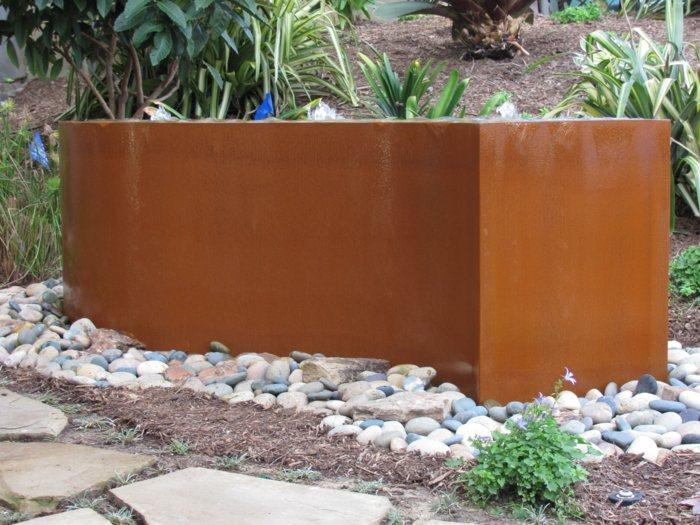 patio diseño muebles estantes muros