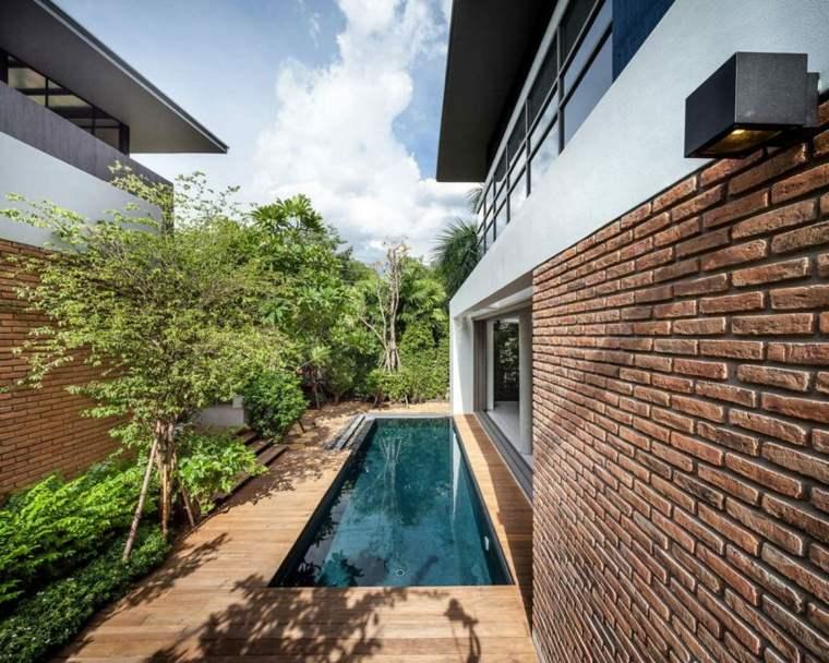 patio piscina moderna jardin ladrillo