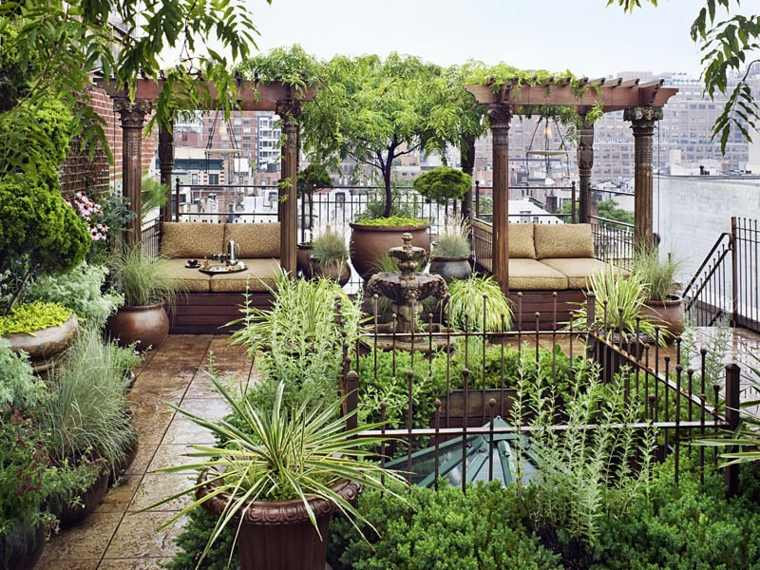 pergola madera paraiso azotea ciudad apartamento ideas