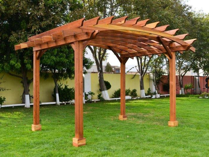 pergolas de madera diseño efectos grava cesped
