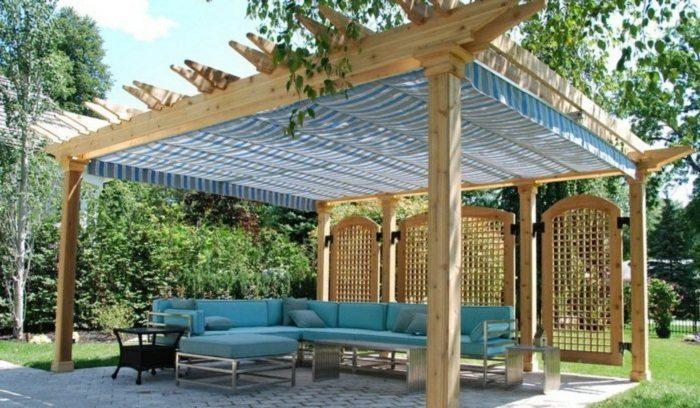 pergolas de madera diseño lineas sombras azules
