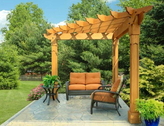pergolas de madera diseño triangular tejado cristales