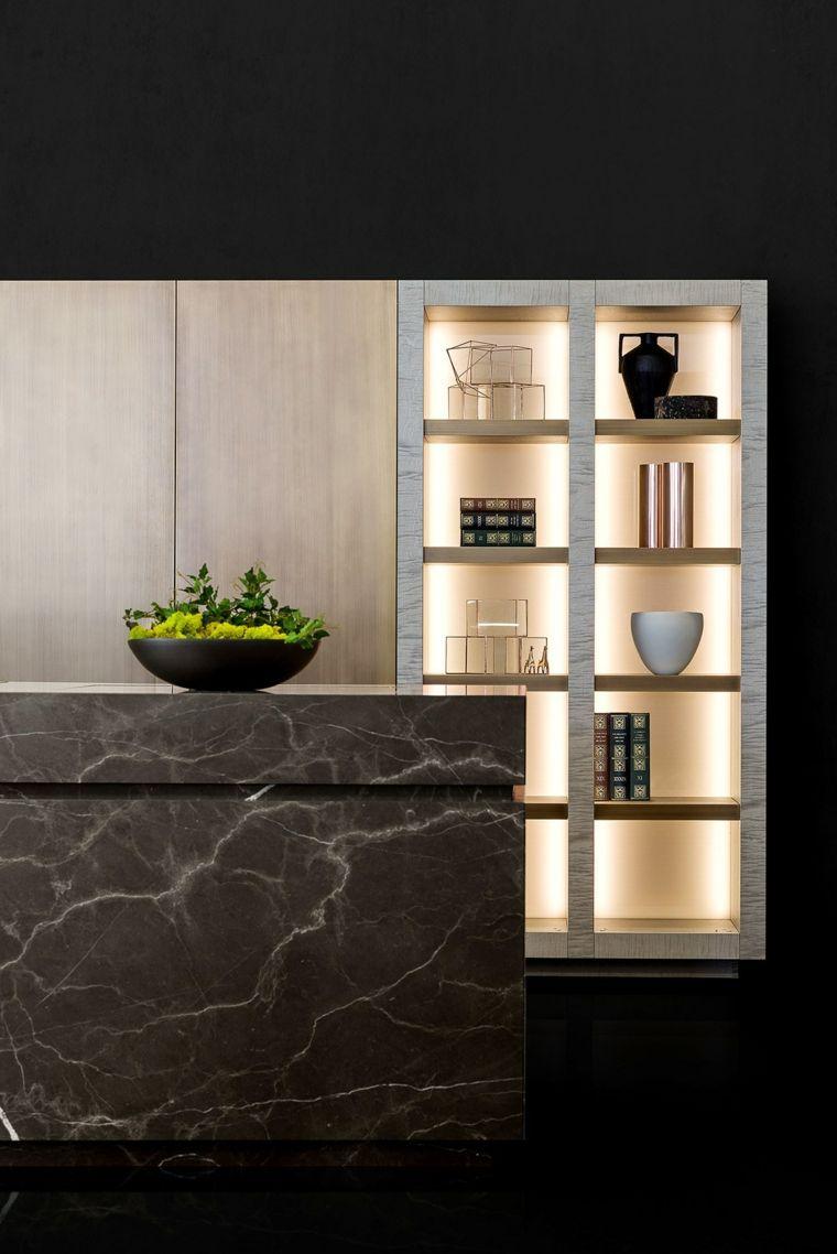 Piedra natural incorporada en el diseño de la cocina -