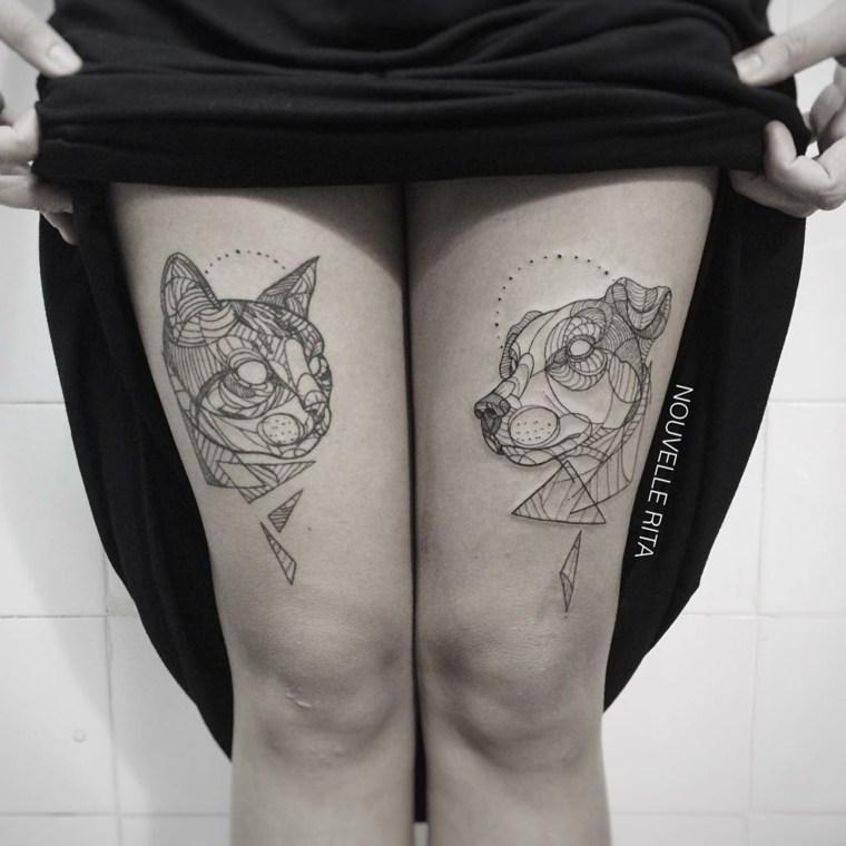 piernas tatuadas caras gato perro