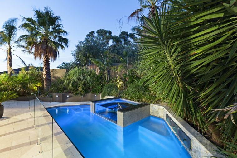 piscina dentro otra piscina jardin moderno ideas