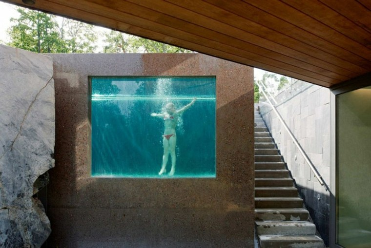 piscinas pared cristal transparente jardin moderno ideas