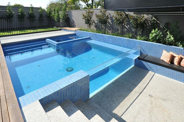 piscinas transparentes forma cuadrada ideas