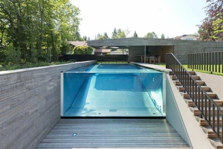 piscina transparente jardin moderno Lynx Architects Pool ideas