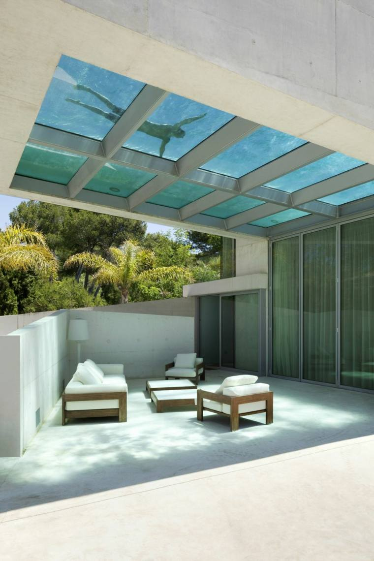 piscina transparente jardin moderno Wiel Arets Architects ideas
