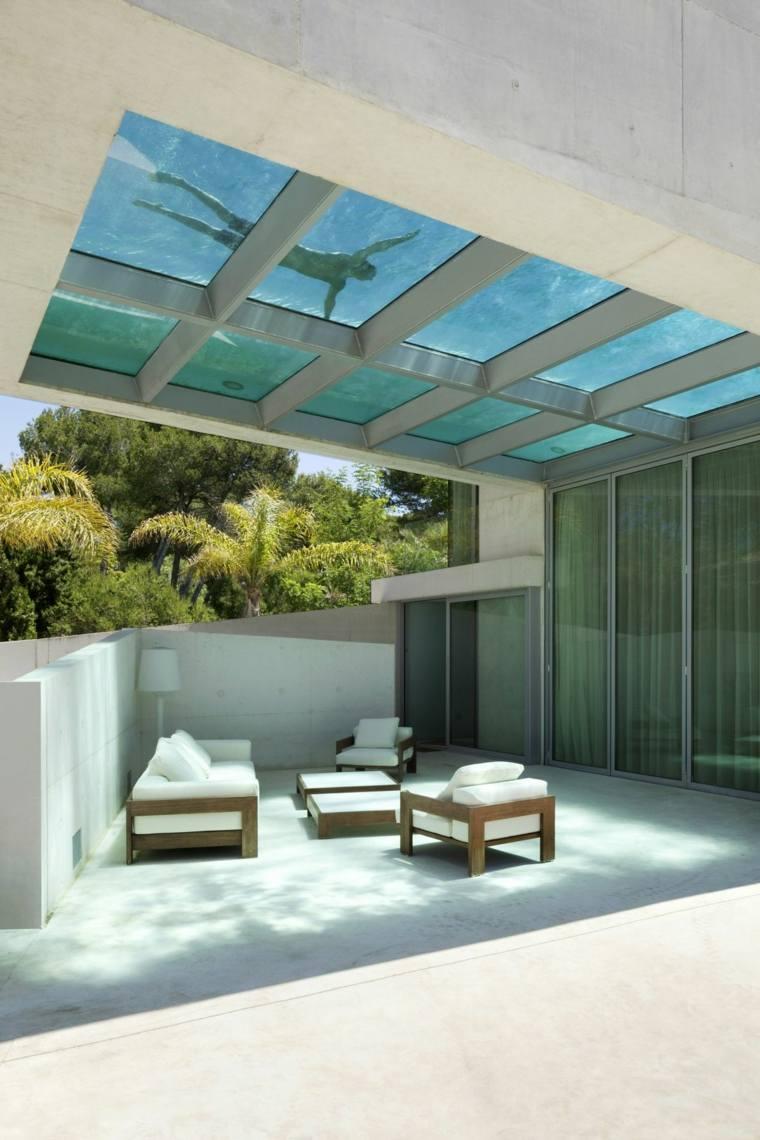piscina transparente jardin moderno Wiel Arets Architects ideas