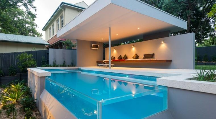 piscinas transparentes jardin moderno angulo transparente ideas
