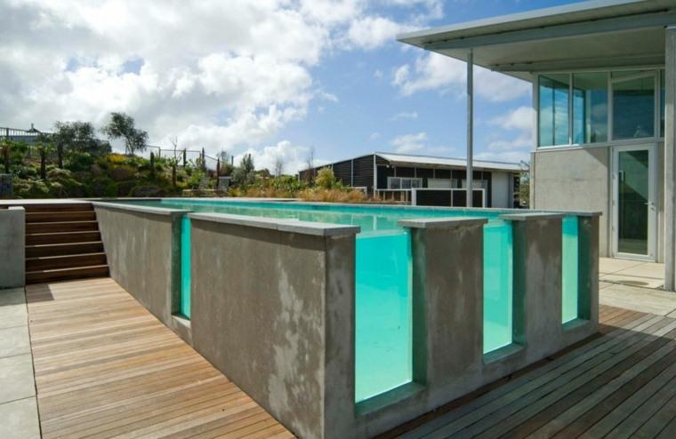 piscinas transparentes jardin moderno hormigo cristal ideas