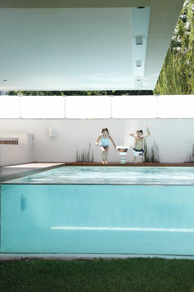 piscina transparente jardin moderno ninos ideas