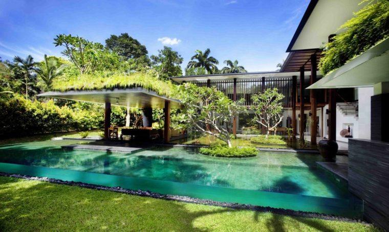 piscina transparente jardin trasero diseno espectacular ideas