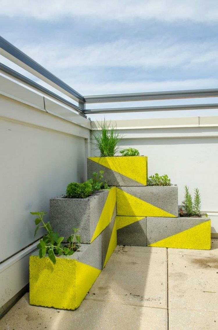 plantadores maceteros bloques cemento pintados