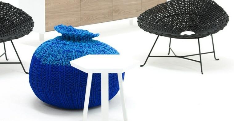 puff pera contrastante tejidos muebles esfericos