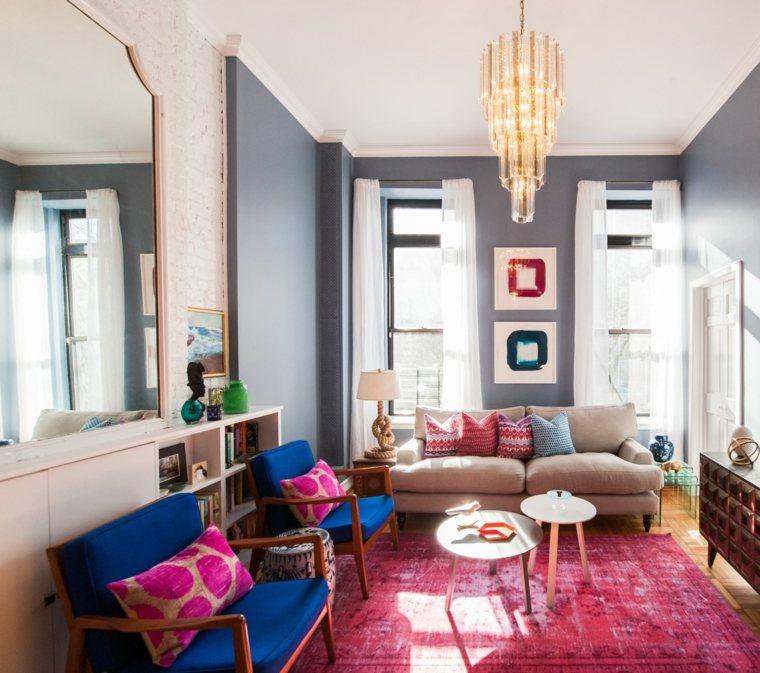 sala estar alfombra color rosa