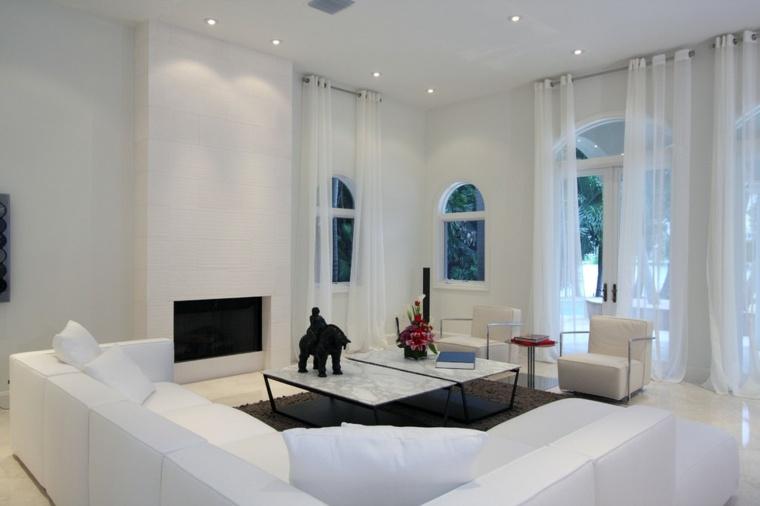 salon moderno blanco cortinas blancas