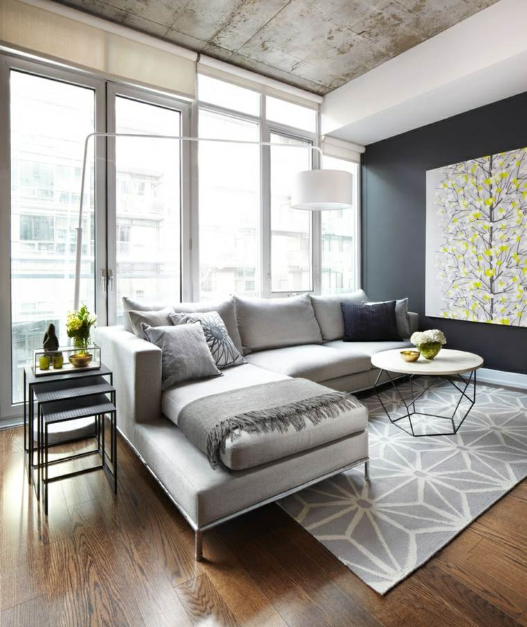 salon con encanto urbano diseno simple sofa gris ideas