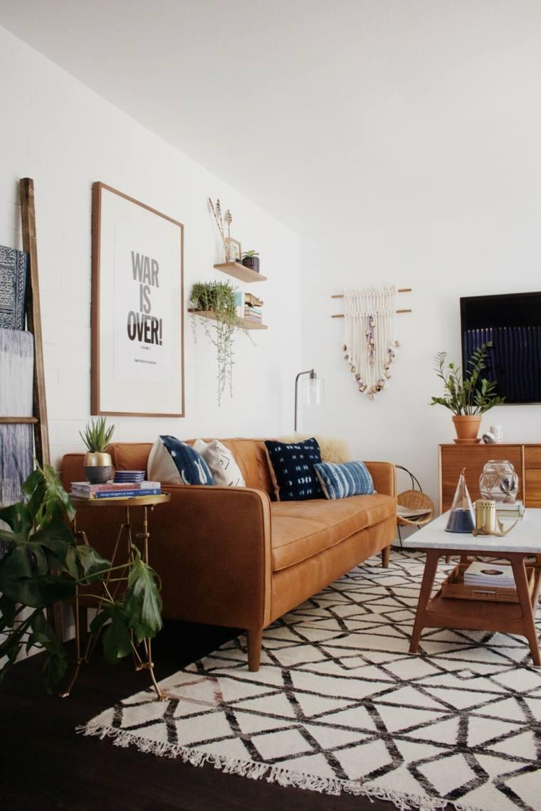 salon con encanto urbano sofa cuero muebles madera ideas